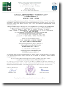 National Certificate of the Constancy of Performance AC010-UWB-0005