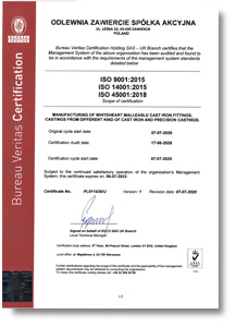 Certificate of integrated Management System (ISO 9001, ISO 14001, ISO 45001) by Bureau Veritas Certification